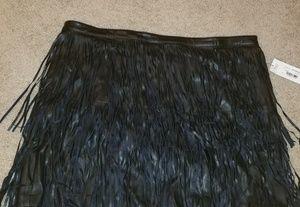 Dresses & Skirts - BEAUTIFUL Black Vegan Leather Fringe Skirt